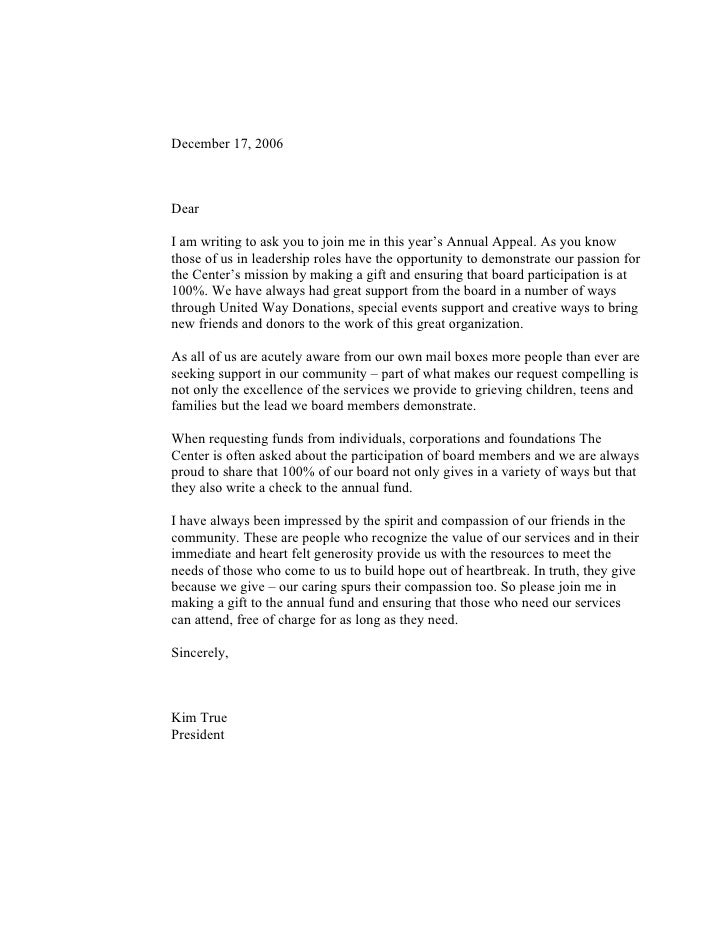 December 17, 2006    Dear  I am writing to ask you to join me in this year's Annual Appeal. As you know those of us in lea...