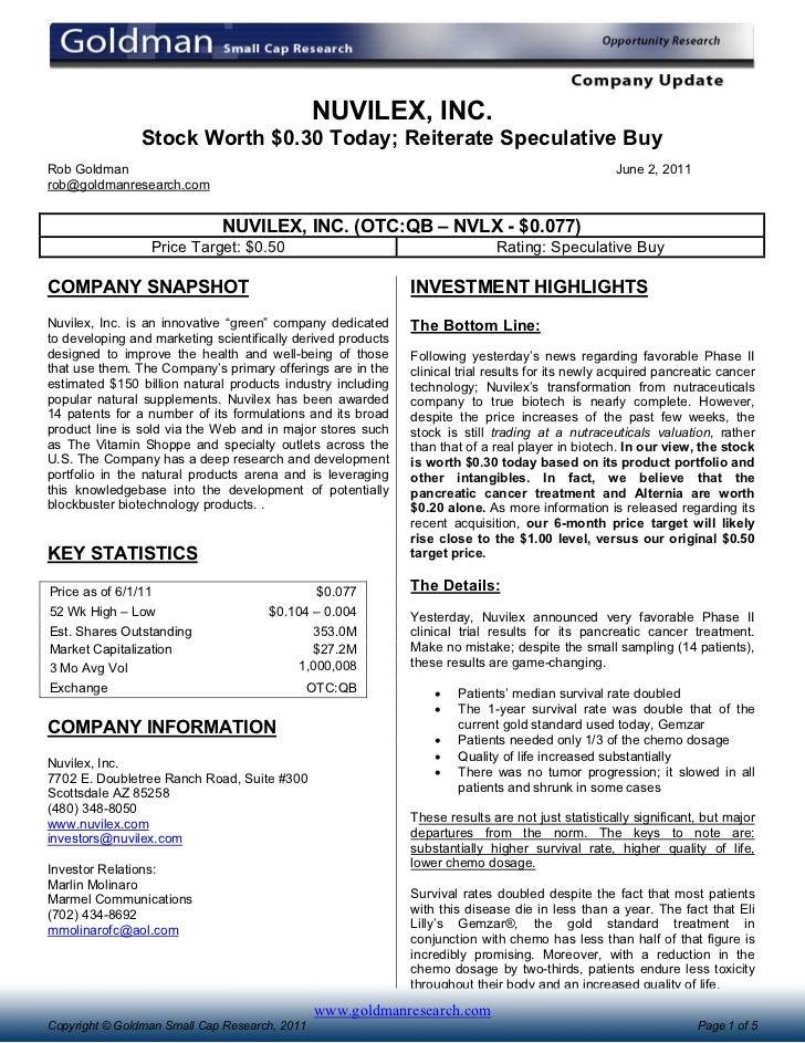 NUVILEX, INC.                Stock Worth $0.30 Today; Reiterate Speculative BuyRob Goldman                                ...