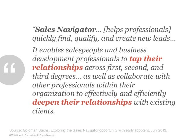 """""""Sales Navigator… [helps professionals] quickly find, qualify, and create new leads…  """"  It enables salespeople and busine..."""