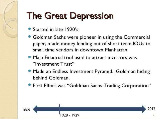 goldman sachs a bubble making machine  4 the great depression