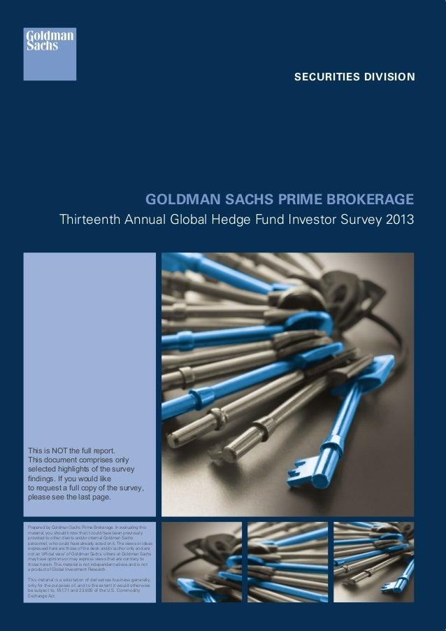 Goldman Sachs Pb 13th Annual Global Hedge Fund Investor