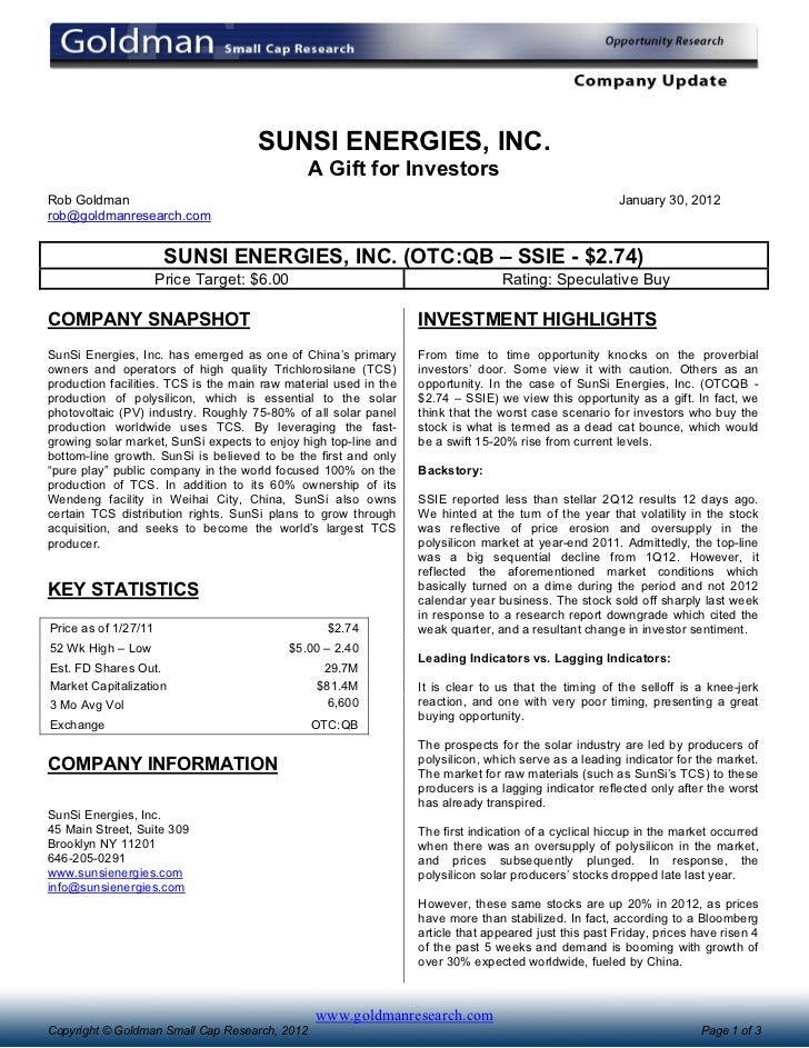 SUNSI ENERGIES, INC.                                               A Gift for InvestorsRob Goldman                        ...