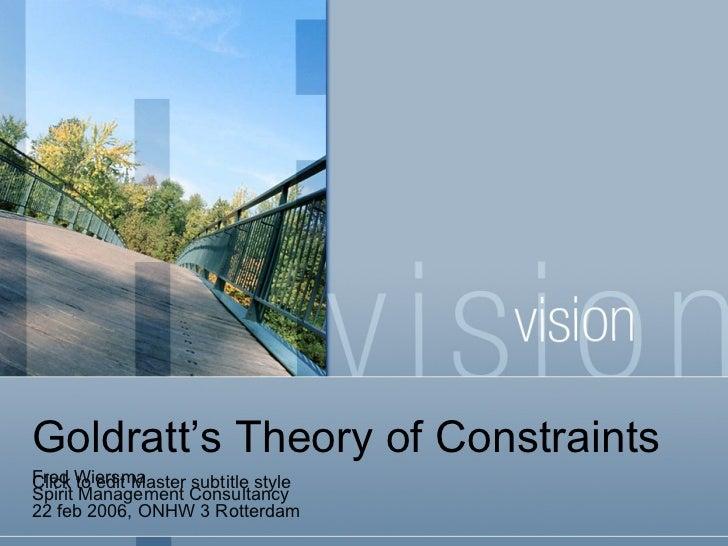 Goldratt's Theory of Constraints Fred Wiersma Spirit Management Consultancy 22 feb 2006, ONHW 3 Rotterdam
