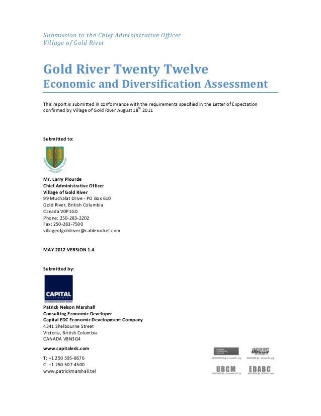 SubmissiontotheChiefAdministrativeOfficer VillageofGoldRiver  GoldRiverTwentyTwelve EconomicandDiversific...