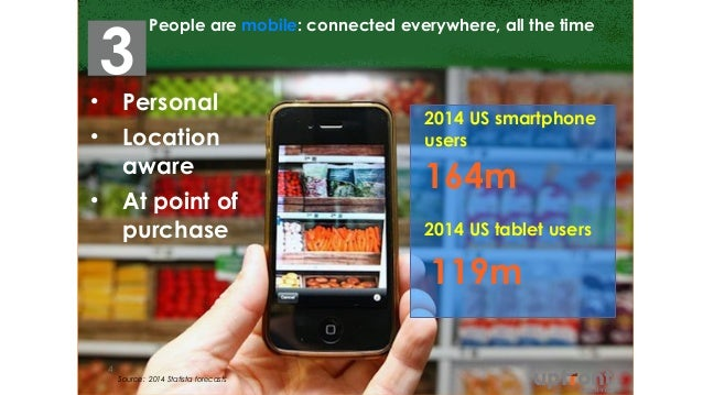 People are mobile: connected everywhere, all the time Source: 2014 Statista forecasts 4 • Personal • Location aware • At p...