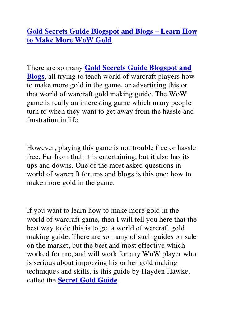 Gold secrets guide blogspot and blogs