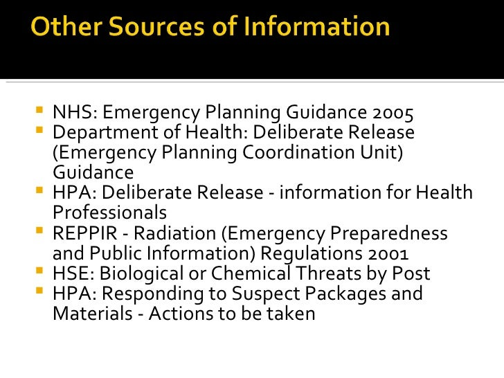Emergency planning and preparedness: exercises and training
