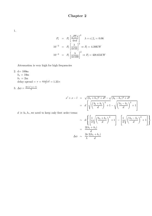 solution manual of goldsmith wireless communication
