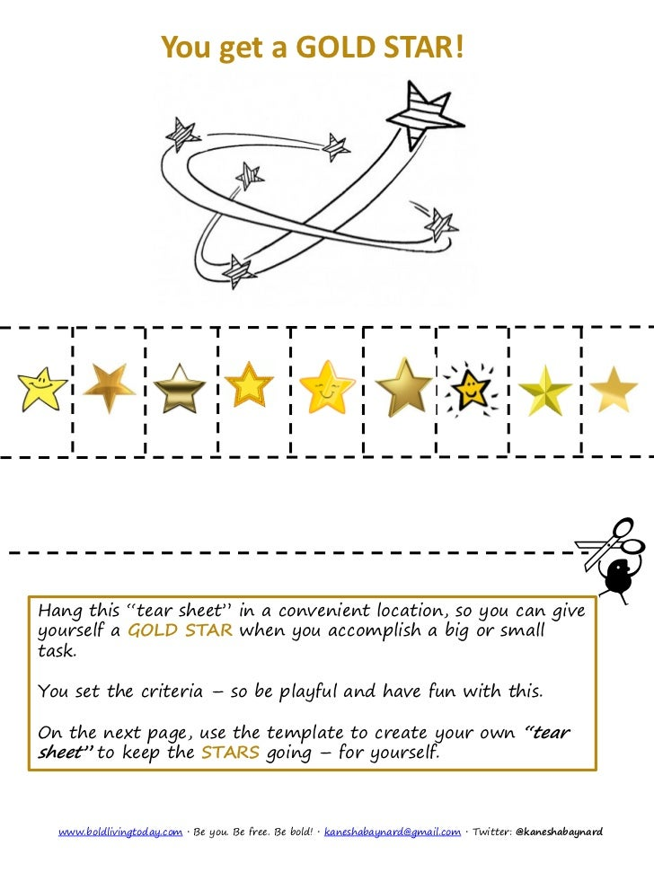 "You get a GOLD STAR!Hang this ""tear sheet"" in a convenient location, so you can giveyourself a GOLD STAR when you accompli..."