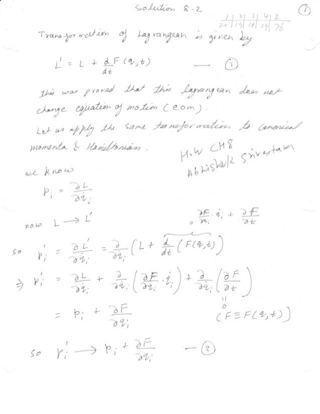 Goldstein solution chapter 8 (2, 20,26,35)