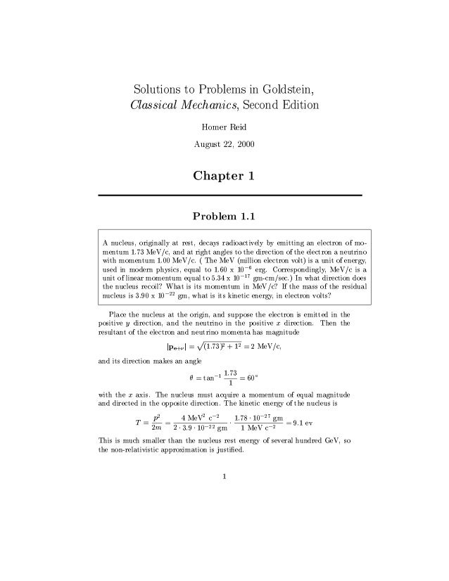 goldstein classical mechanics solutions manual download