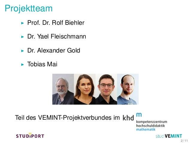Projektteam Prof. Dr. Rolf Biehler Dr. Yael Fleischmann Dr. Alexander Gold Tobias Mai Teil des VEMINT-Projektverbundes im ...