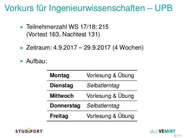 Vorkurs für Ingenieurwissenschaften – UPB Teilnehmerzahl WS 17/18: 215 (Vortest 163, Nachtest 131) Zeitraum: 4.9.2017 – 29...