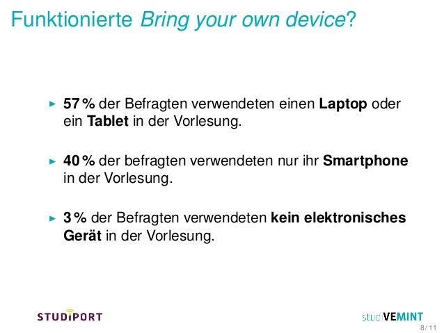 Funktionierte Bring your own device? 57 % der Befragten verwendeten einen Laptop oder ein Tablet in der Vorlesung. 40 % de...
