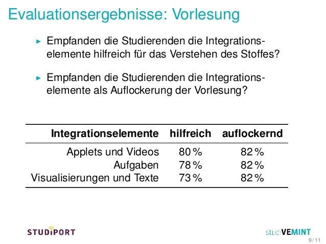 Evaluationsergebnisse: Vorlesung Empfanden die Studierenden die Integrations- elemente hilfreich für das Verstehen des Sto...