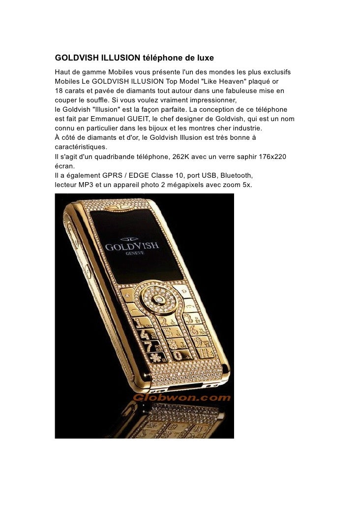 GOLDVISH ILLUSION téléphone de luxe Haut de gamme Mobiles vous présente l'un des mondes les plus exclusifs Mobiles Le GOLD...