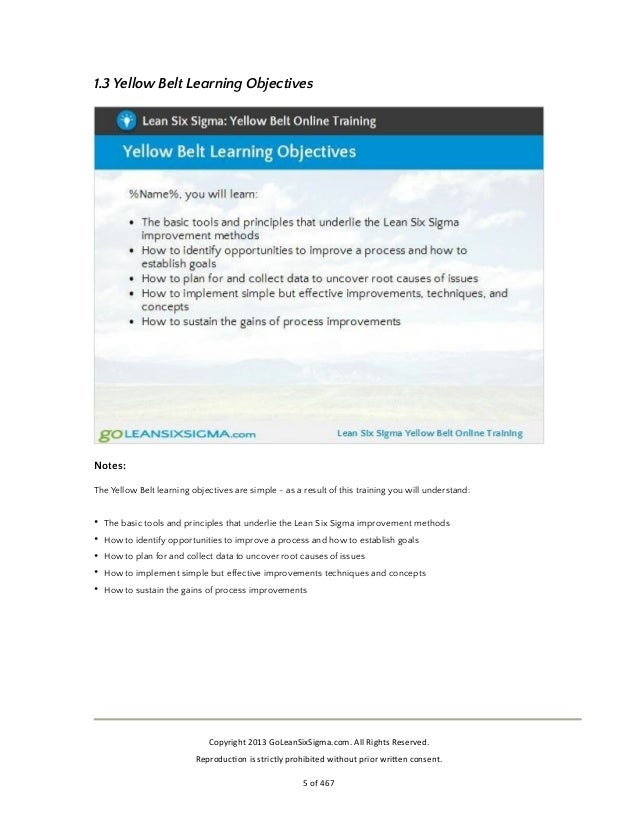 Free Lean Six Sigma Training Yellow Belt Preview By Goleansixsigma