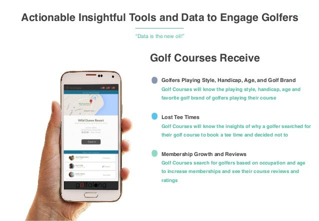 """‹#› Actionable Insightful Tools and Data to Engage Golfers """"Data is the new oil!"""" Golfers Playing Style, Handicap, Age, an..."""
