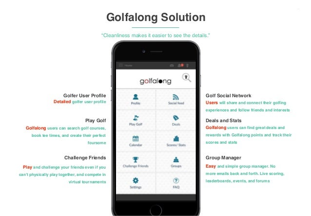 """‹#› Golfalong Solution """"Cleanliness makes it easier to see the details."""" ! Golfer User Profile Detailed golfer user profil..."""