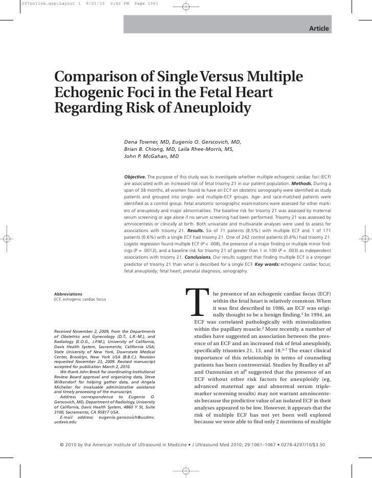 Article     Comparison of Single Versus Multiple Echogenic Foci in the Fetal Heart Regarding Risk of Aneuploidy           ...