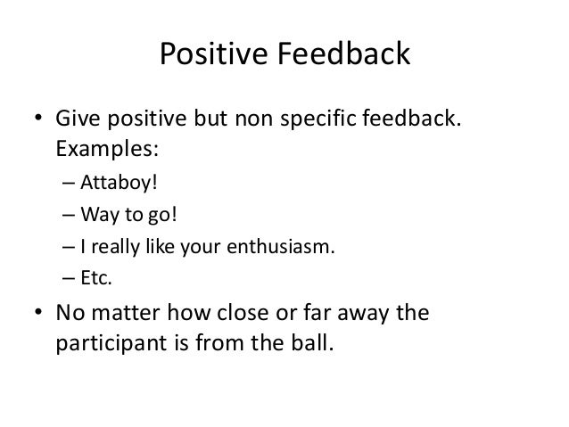Training Activity The Importance Of Positive Feedback
