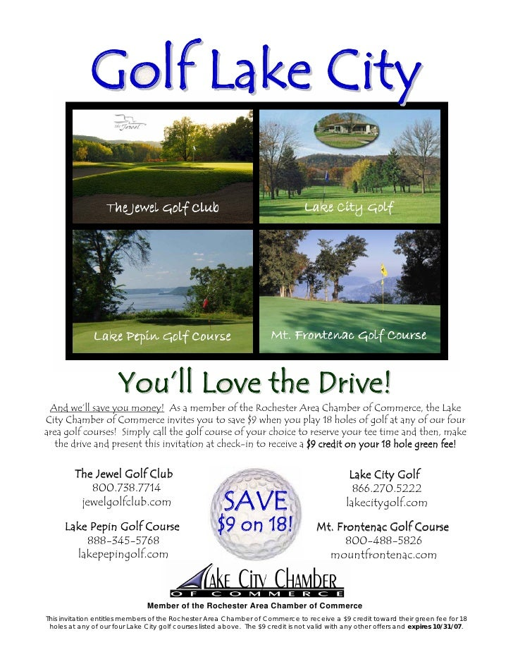 Golf Lake City                           You'll Love the Drive!  And we'll save you money! As a member of the Rochester Ar...