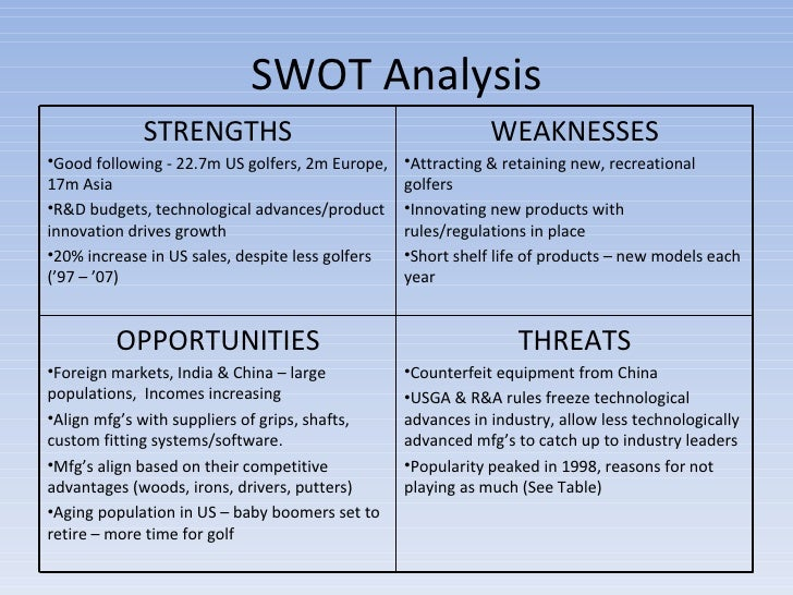 swot analysis on nike golf equipment Nike swot analysis (strengths, weaknesses, opportunities and threats) strengths - nike is one of the main shoemaker in the world it designs and sells shoes for a big variety of sports including basketball, baseball, golf.