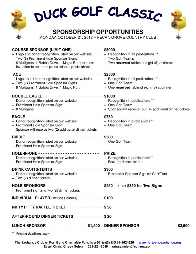 Golf Sponsorship Package