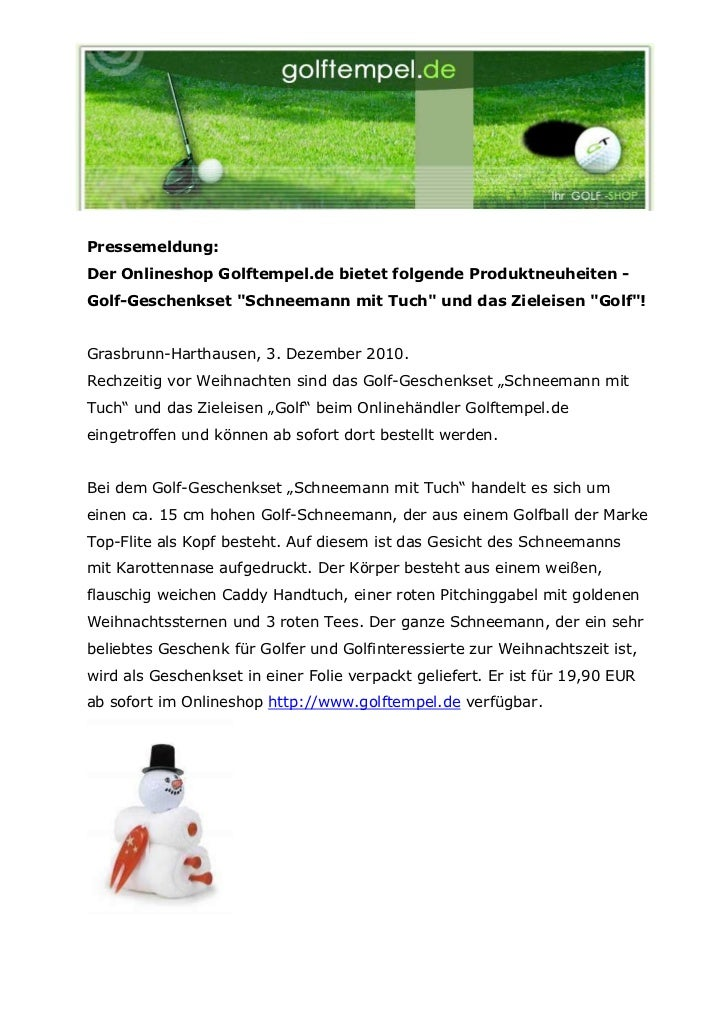 """Pressemeldung:Der Onlineshop Golftempel.de bietet folgende Produktneuheiten -Golf-Geschenkset """"Schneemann mit Tuch"""" und da..."""