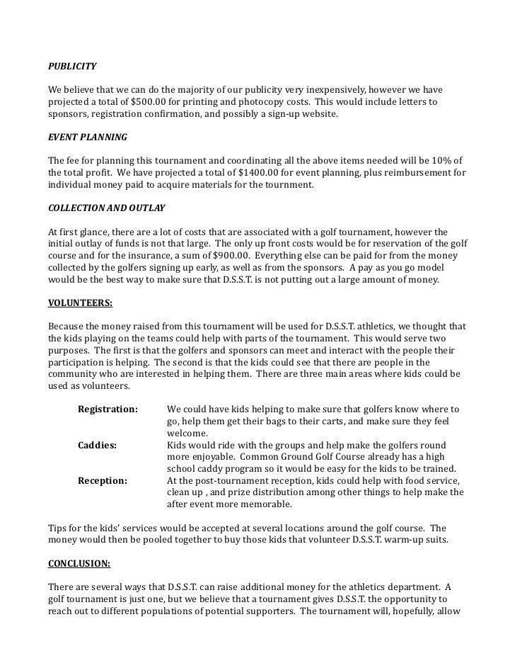 Tournament Proposal Sample