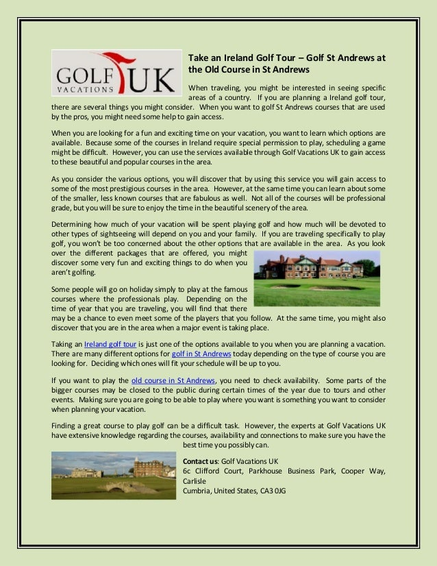 Take an Ireland Golf Tour – Golf St Andrews at                                           the Old Course in St Andrews     ...