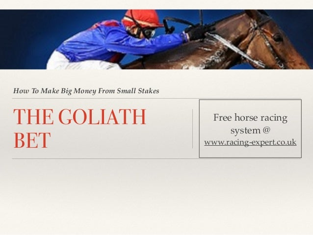 How To Make Big Money From Small Stakes THE GOLIATH BET Free horse racing system @ www.racing-expert.co.uk