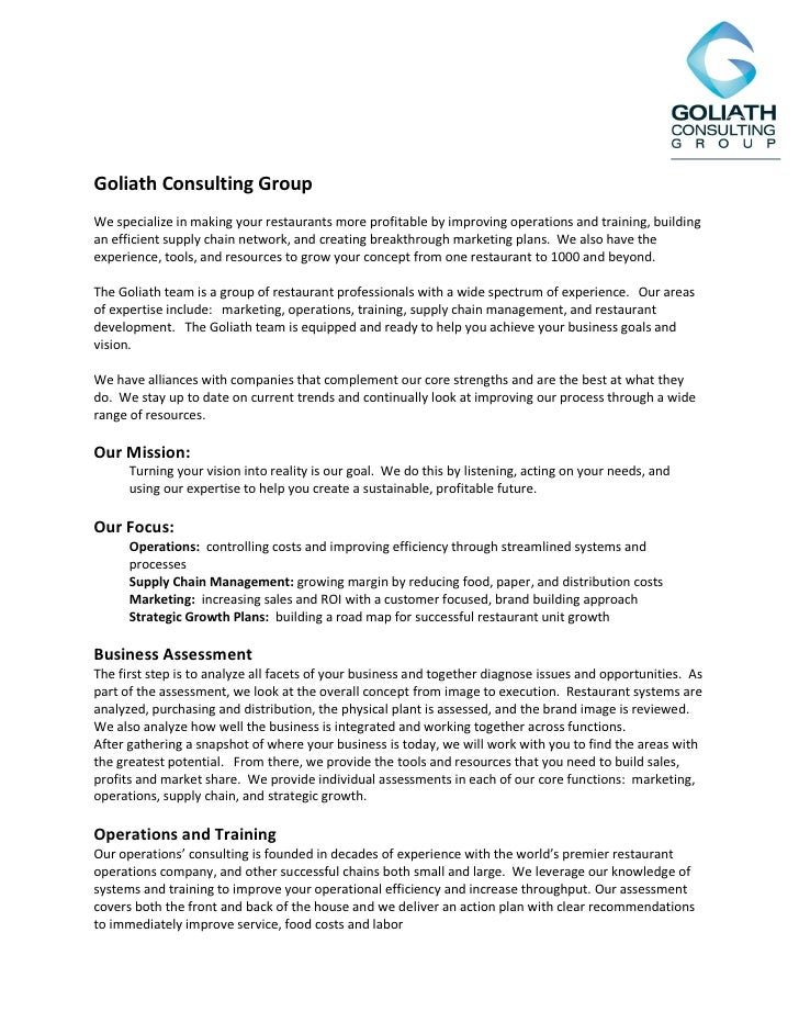 Goliath Consulting Group We specialize in making your restaurants more profitable by improving operations and training, bu...