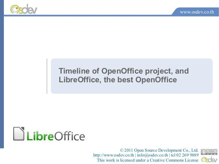 www.osdev.co.thTimeline of OpenOffice project, andLibreOffice, the best OpenOffice                        © 2011 Open Sour...