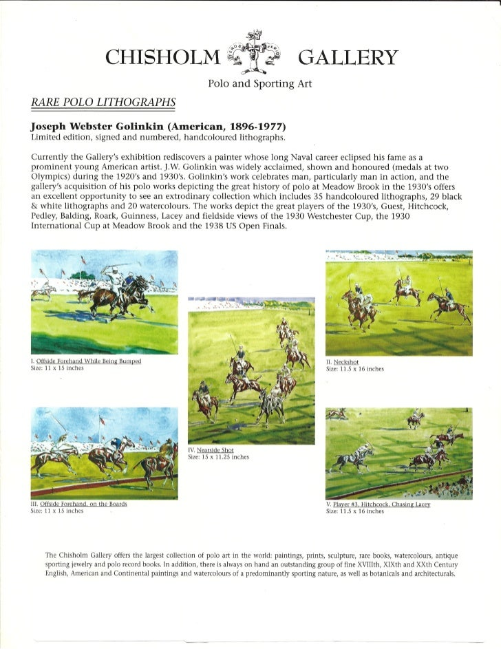 Rare Polo Lithographs: Views of the 1930 Westchester Cup, the 1930 International Cup & the 1938 US Open Finals