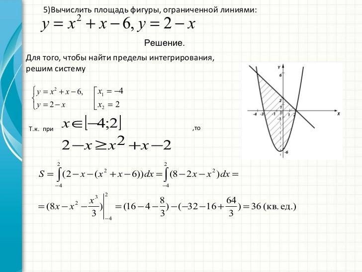найти площадь фигуры ограниченной двуся линиями