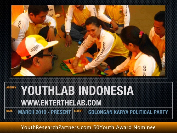 YOUTHLAB GOLONGAN KARYA POLITICAL PARTY MARCH 2010 - PRESENT   YouthResearchPartners.com 50Youth Award Nominee