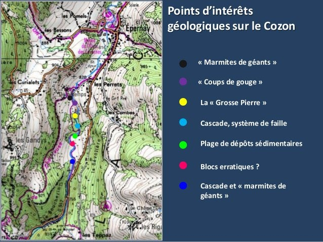 Points d'intérêtsgéologiques sur le Cozon« Marmites de géants »« Coups de gouge »La « Grosse Pierre »Cascade, système de f...
