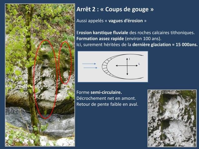 Arrêt 2 : « Coups de gouge »LlAussi appelés « vagues d'érosion »Erosion karstique fluviale des roches calcaires tithonique...