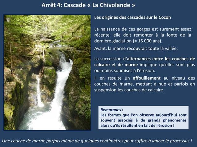 Arrêt 4: Cascade « La Chivolande »Une couche de marne parfois même de quelques centimètres peut suffire à lancer le proces...