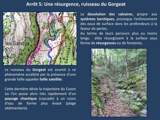 Arrêt 5: Une résurgence, ruisseau du GorgeatLa dissolution des calcaires, propre auxsystèmes karstiques, provoque l'enfonc...