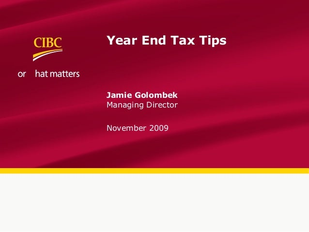 Year End Tax TipsJamie GolombekManaging DirectorNovember 2009
