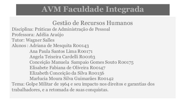AVM Faculdade Integrada  Gestão de Recursos Humanos  Disciplina: Práticas de Administração de Pessoal  Professora: Adélia ...