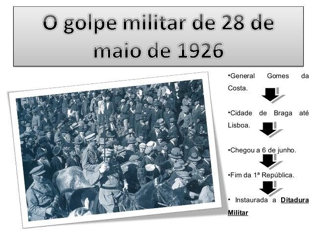 •General  Gomes  da  Costa. •Cidade  de Braga até  Lisboa. •Chegou a 6 de junho. •Fim da 1ª República. • Instaurada a Dita...