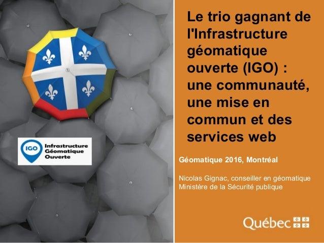 Le trio gagnant de l'Infrastructure géomatique ouverte (IGO) : une communauté, une mise en commun et des services web Géom...