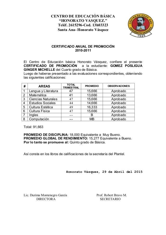 Preferência Modelo de Certificado Anual de Promocion BO48