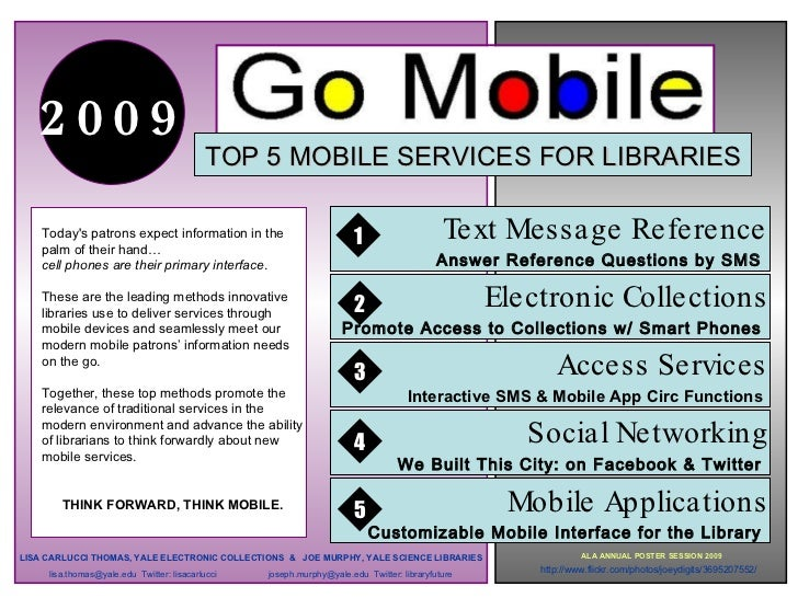.     2009                                            TOP 5 MOBILE SERVICES FOR LIBRARIES      Today's patrons expect info...