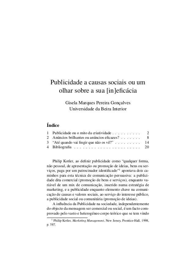 Publicidade a causas sociais ou um olhar sobre a sua [in]eficácia Gisela Marques Pereira Gonçalves Universidade da Beira In...