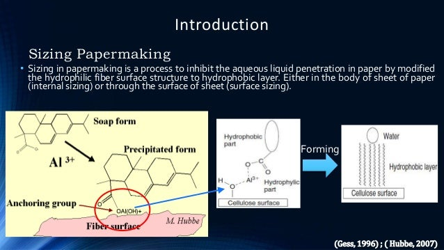 Introduction Sizing Papermaking • Sizing in papermaking is a process to inhibit the aqueous liquid penetration in paper by...