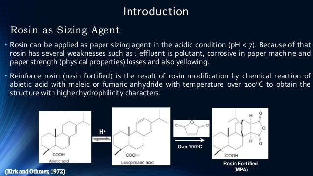 Introduction Rosin as Sizing Agent • Rosin can be applied as paper sizing agent in the acidic condition (pH < 7). Because ...